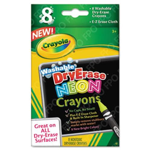 Crayola.  988605 Washable Dry Erase Crayons w/E-Z Erase Cloth, Assorted Neon Colors, 8/Pack