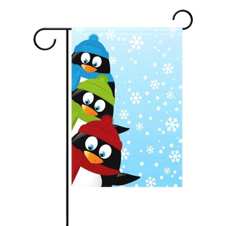 POPCreation Cute Penguin Winter Snowflake Christmas Garden Flag Outdoor Flag Home Party 28x40 inches