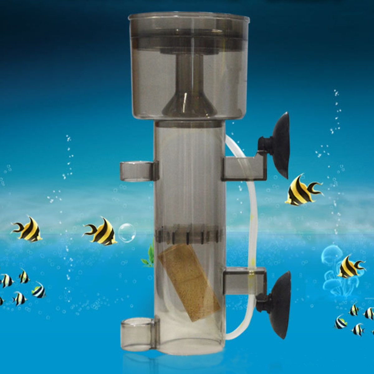 Moaere 600/800 L/H Mini Aquarium Fish Tank Air Driven Protein Skimmer with Suction Cup