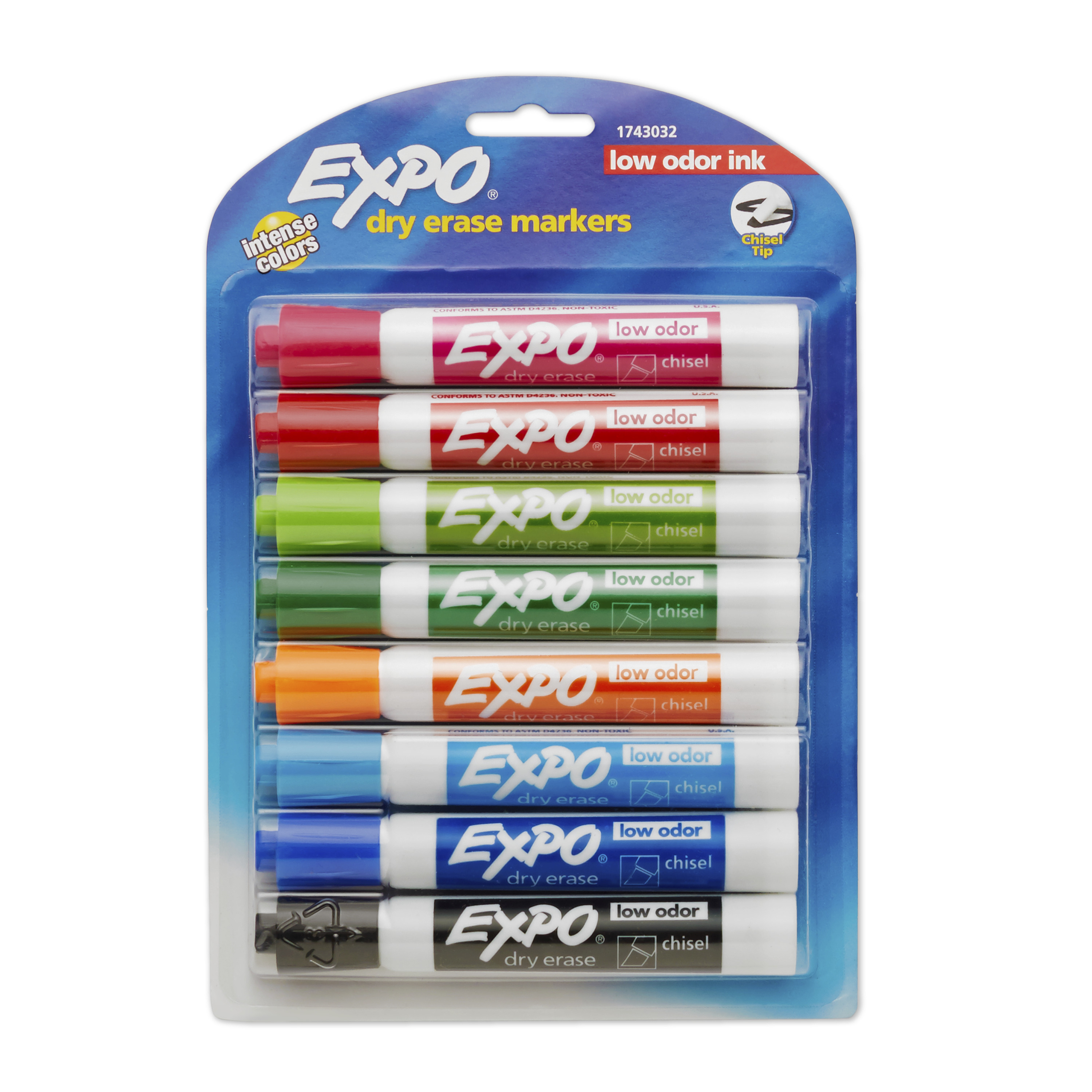 EXPO Low Odor Dry Erase Markers, Chisel Tip, Assorted Colors, 8 Pack