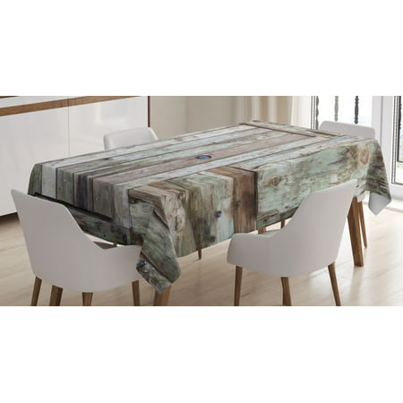 Rustic Tablecloth, Old Rustic Barn Door Cottage Country Cabin Theme Rural Mystic Entrance of Home, Rectangular Table Cover for Dining Room Kitchen, 60 X 84 Inches, Warm Taupe Cocoa, by (84 Timberbrook Entrance)