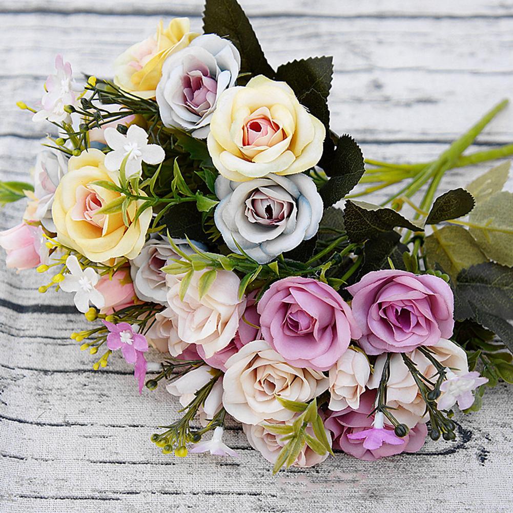 Moderna 1 Bouquet 15 Heads European Style Artificial Royal Rose Home Room Decor Flowers