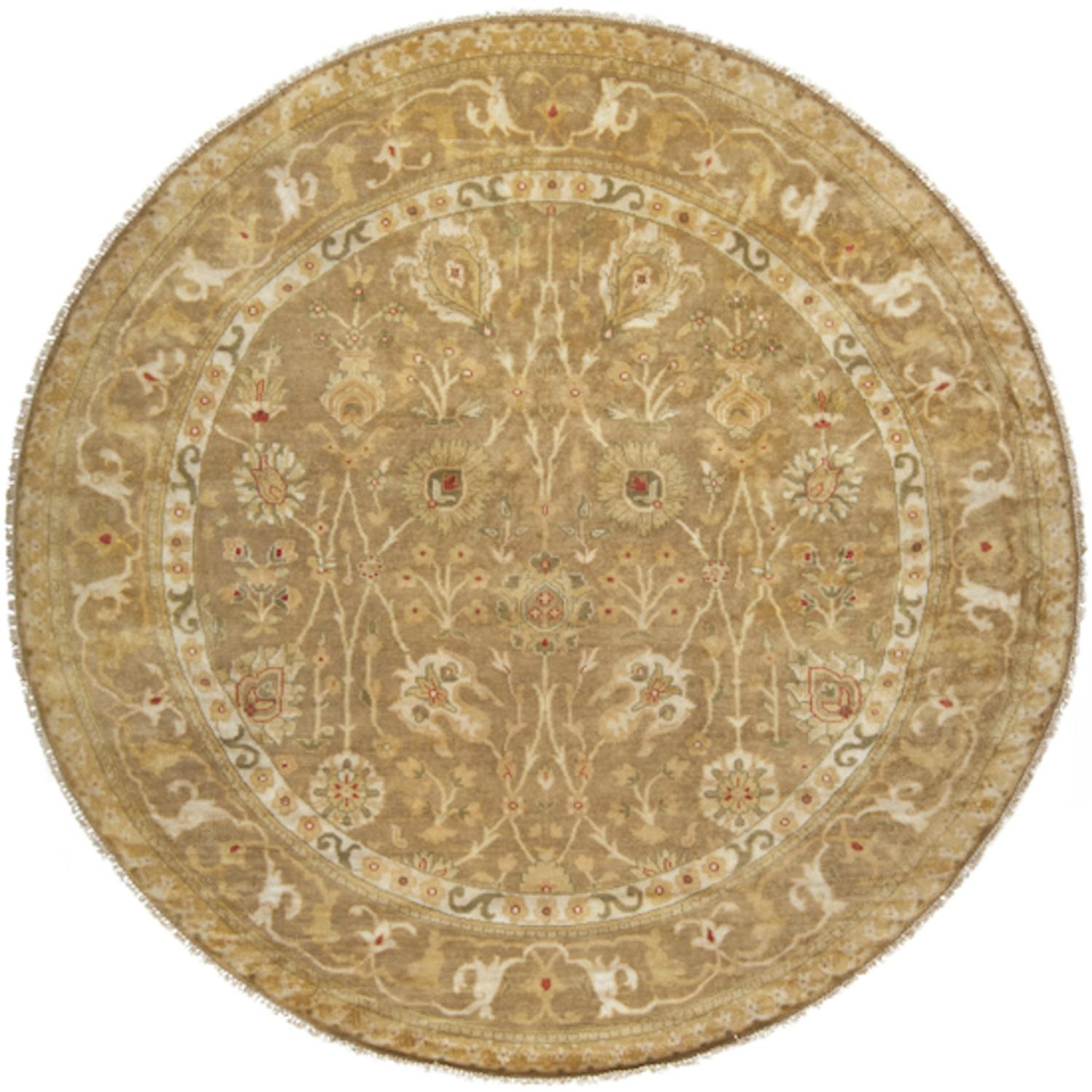 8' Poulad Mossy Gold and Venetian Red Round Wool Area Throw Rug