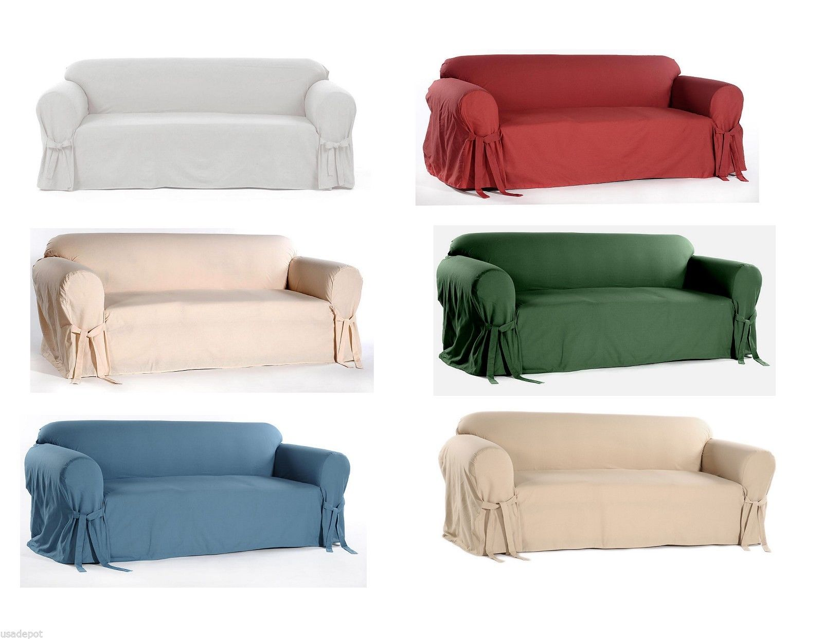 Cotton Dock Round Arm Slipcover For Sofa Loveseat And Chair