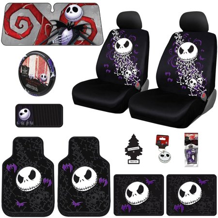 Brand New Design 15 Pieces Nightmare Before Christmas Jack Skellington Car Truck SUV Seat Covers Rubber