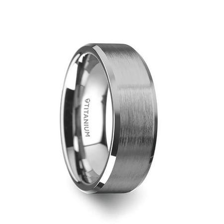 Thorsten Shire | Titanium Rings for Men | Lightweight Titanium | Comfort Fit | Titanium Brushed Center Flat Wedding Ring with Polished Beveled Edges - 8 mm