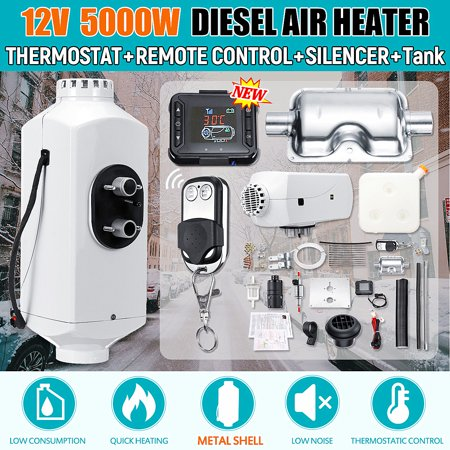 - 12V 5KW Diesel Air Heater Metal Shell & Tank & Thermostat For Truck Trailer Motorhome Bus Car