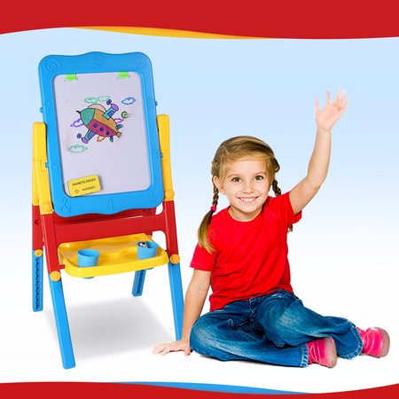 shinehalo 2 sided easel foldable drawing board blackboard and