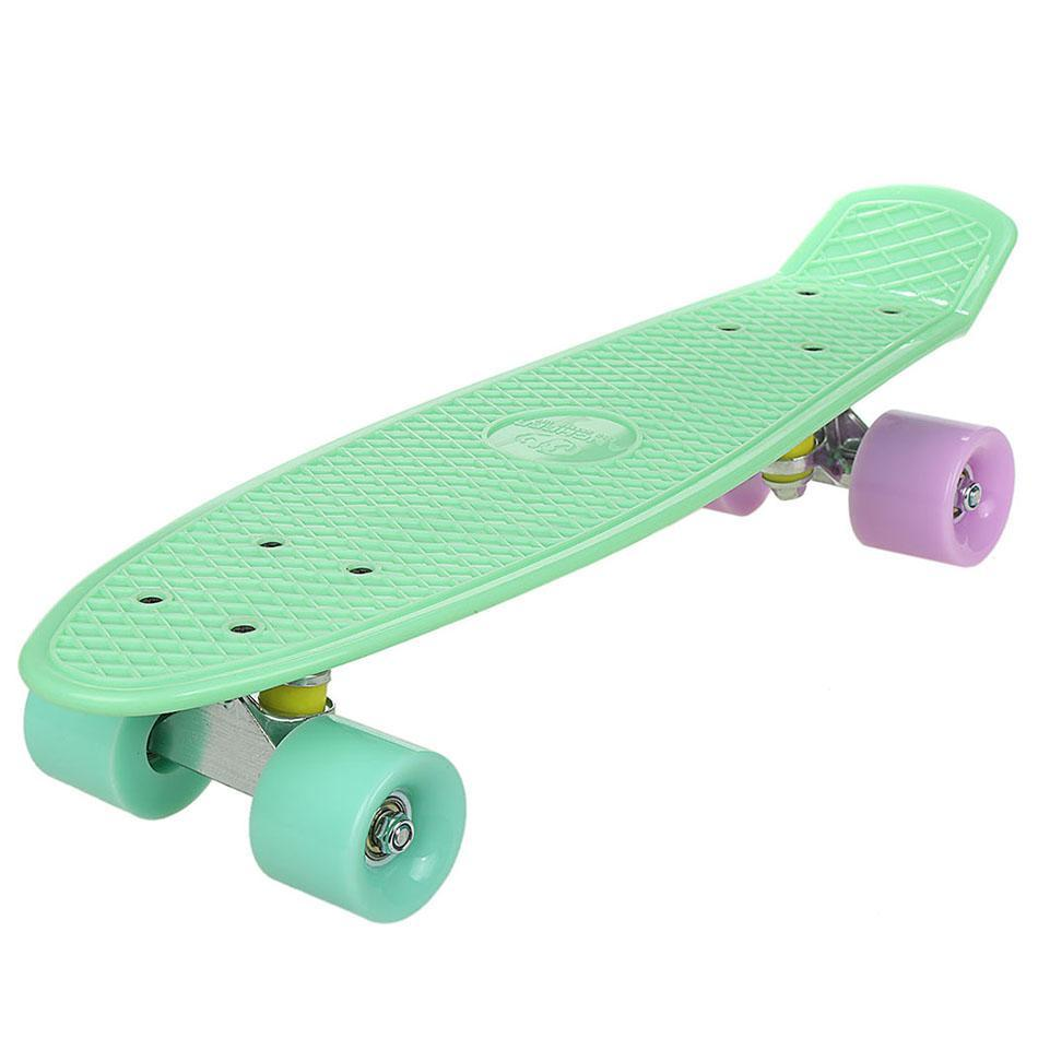 "Skateboard Durable PU 22"" PLastic Board with Lattice Grid Pattern PU Casters 4 Luminous Modes Pu Wheels & High... by"