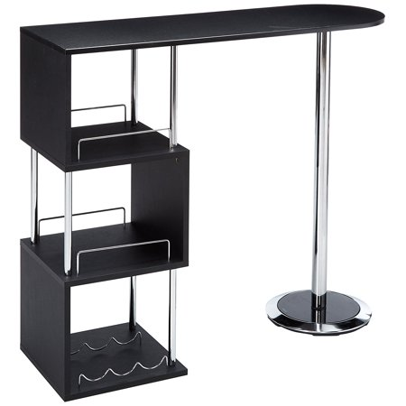 Desi Black Wood & Chrome Modern Bar, Pub, Bistro Table With 3 Storage Shelves & Wine Rack