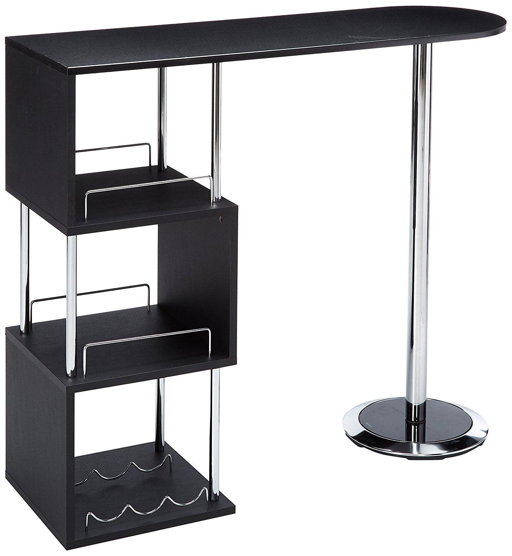 Desi Black Wood & Chrome Modern Bar, Pub, Bistro Table With 3 Storage Shelves & Wine Rack