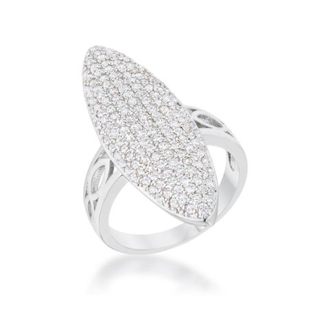 Womens Bella 2.3 CT Cubic Zirconia Rhodium Contemporary Cocktail Ring - Size 10