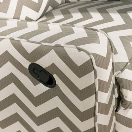Modern Chevron Striped Taupe And Cream Nursery Reclining