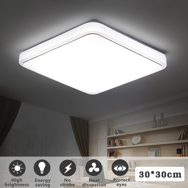 Square Led Ceiling Light Flush Mount 24w 1000lm Ceiling Down Light Fixture Lamp For Home Kitchen Dining Living Room Bedroom 30x30cm Walmart Com Walmart Com