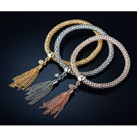 - 18K Tri-Gold Plating & Austrian Crystal Tassel Charm Bracelet