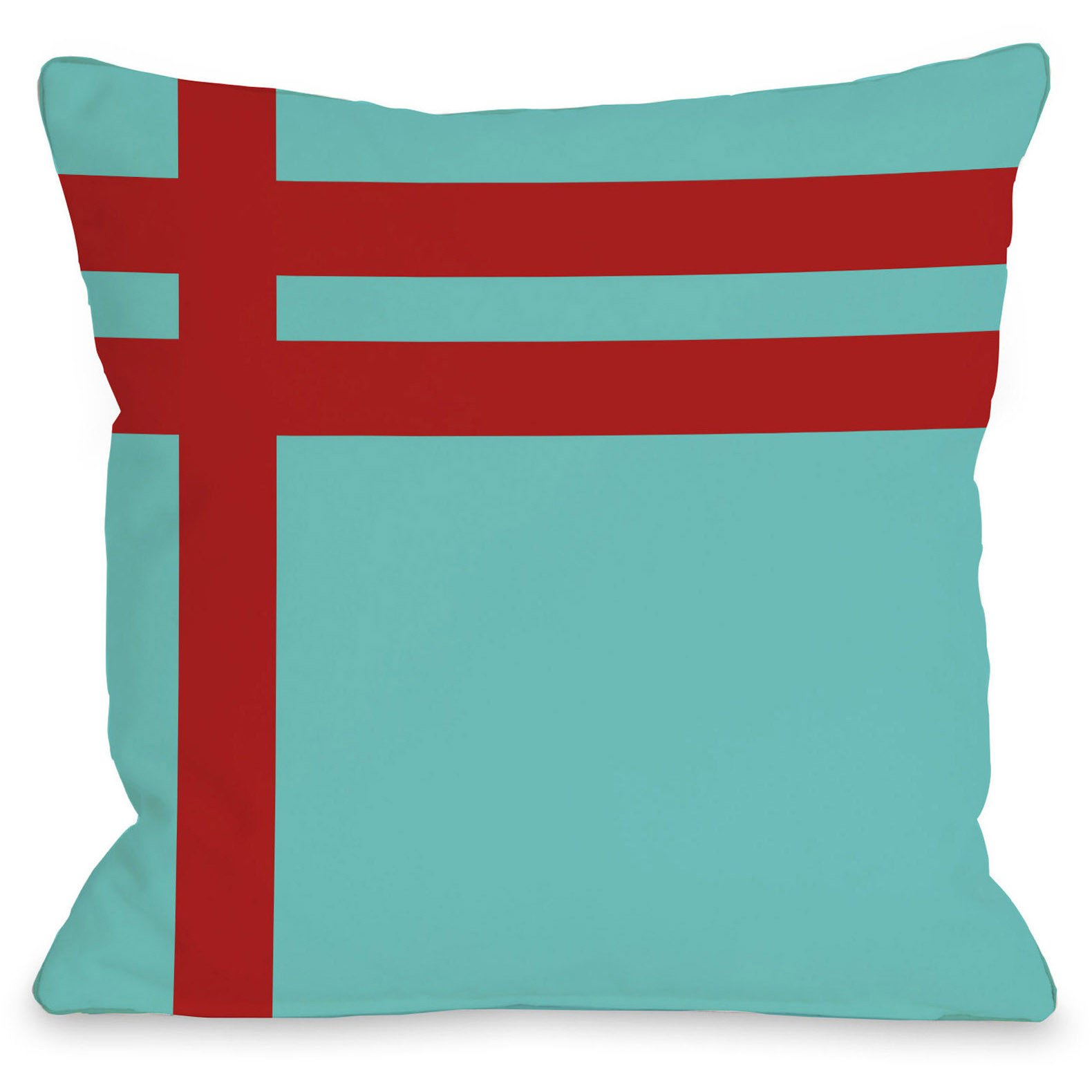 Meet Stripes Outdoor Throw Pillow By Onebellacasa Turquoise Red