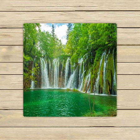 PHFZK Nature Scenery Towel, Beautiful Waterfall in Plitvice Lakes National Park in Croatia Hand Towel Bath Bathroom Shower Towels Beach Towel 13x13 inches (Plitvice Lakes National Park)