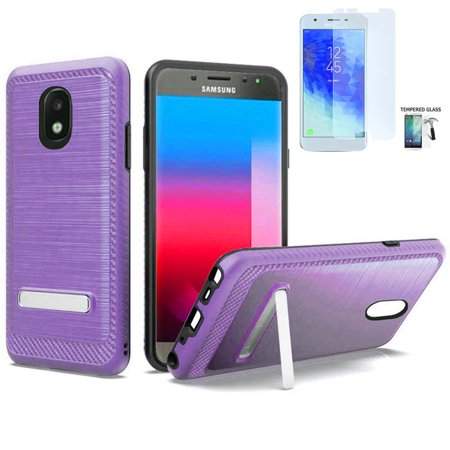Phone Case for Samsung Galaxy J7 Crown, J7 (2018), J7 Refine, J7 V 2nd Gen,  J7 Top/ J7 Star, J7 Aero, J7 Aura Dual-Layered Cover Stand+Tempered Glass