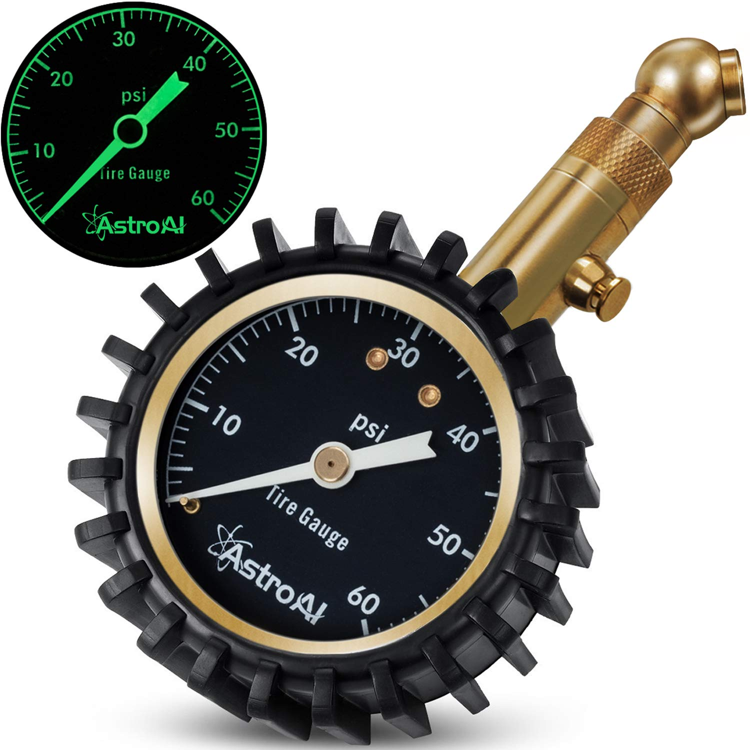 """AstroAI Heavy Duty Tire Pressure Gauge, 60 PSI Certified ANSI B40.1 Accurate with Large 2"""" Easy Read Glow Dial and Solid Brass Construction for Car Truck Motorcycle"""