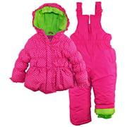 Pink Platinum Baby Girls' Silver Polka Dots Two Piece Snowsuit Bib Pant Set