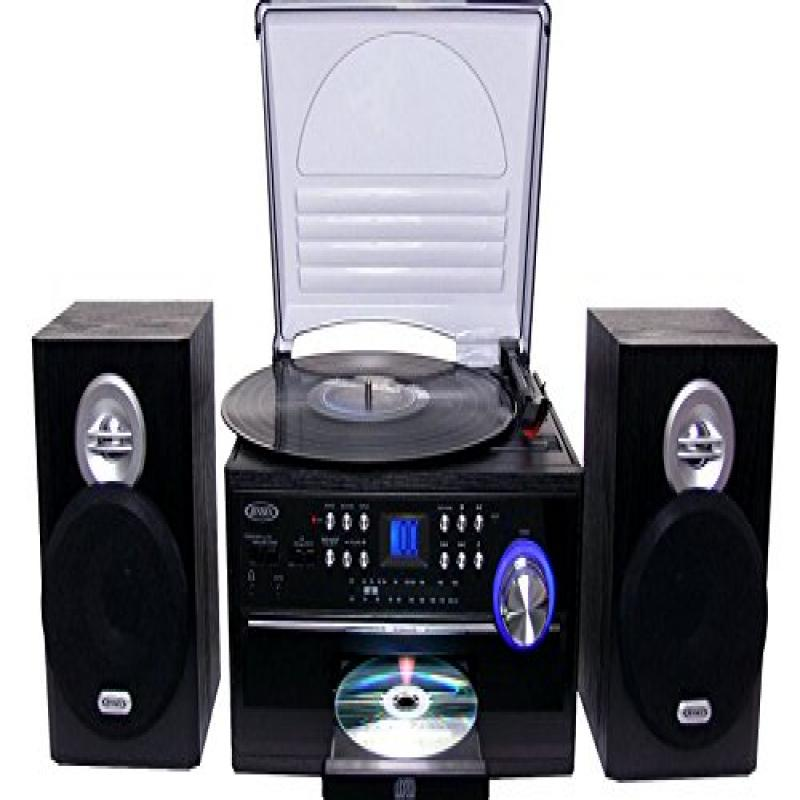 Jensen All-In-One Hi-Fi Stereo CD Player Turntable & Digi...