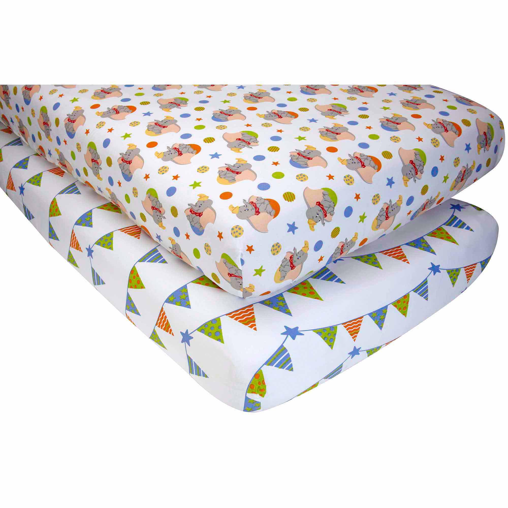 Disney Baby Bedding Crib Sheets Dumbo 2 Pack Walmart Com Walmart Com