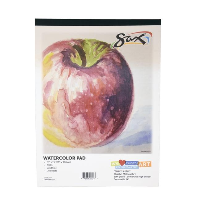 Pacon 1594175 9 x 12 in. Sax Watercolor Pad, 140 lbs, White - 12 Sheets