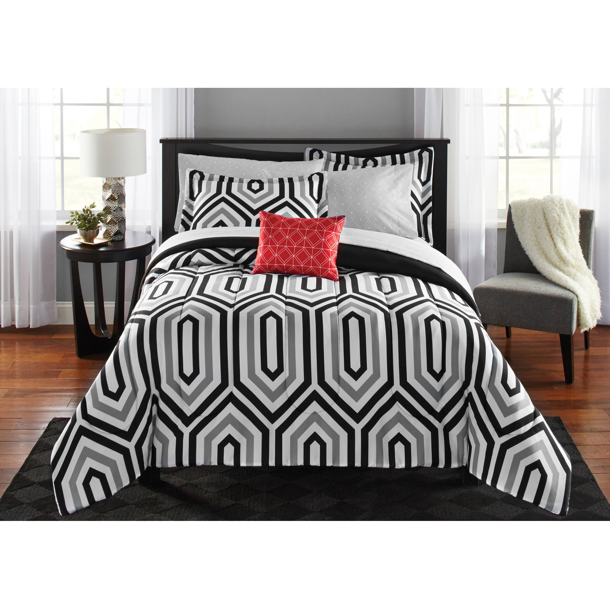Mainstays Hexagon Bed in a Bag Bedding Set