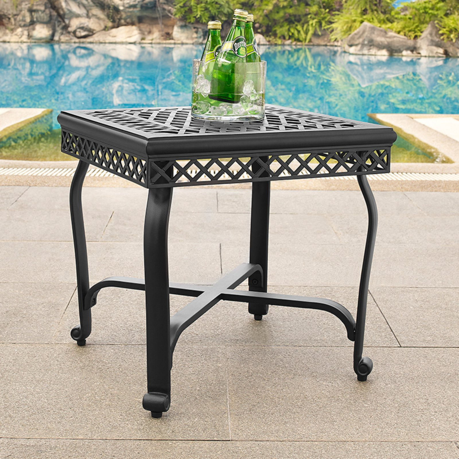 Crosley Portofino Cast Aluminum End Table Charcoal Black Finish
