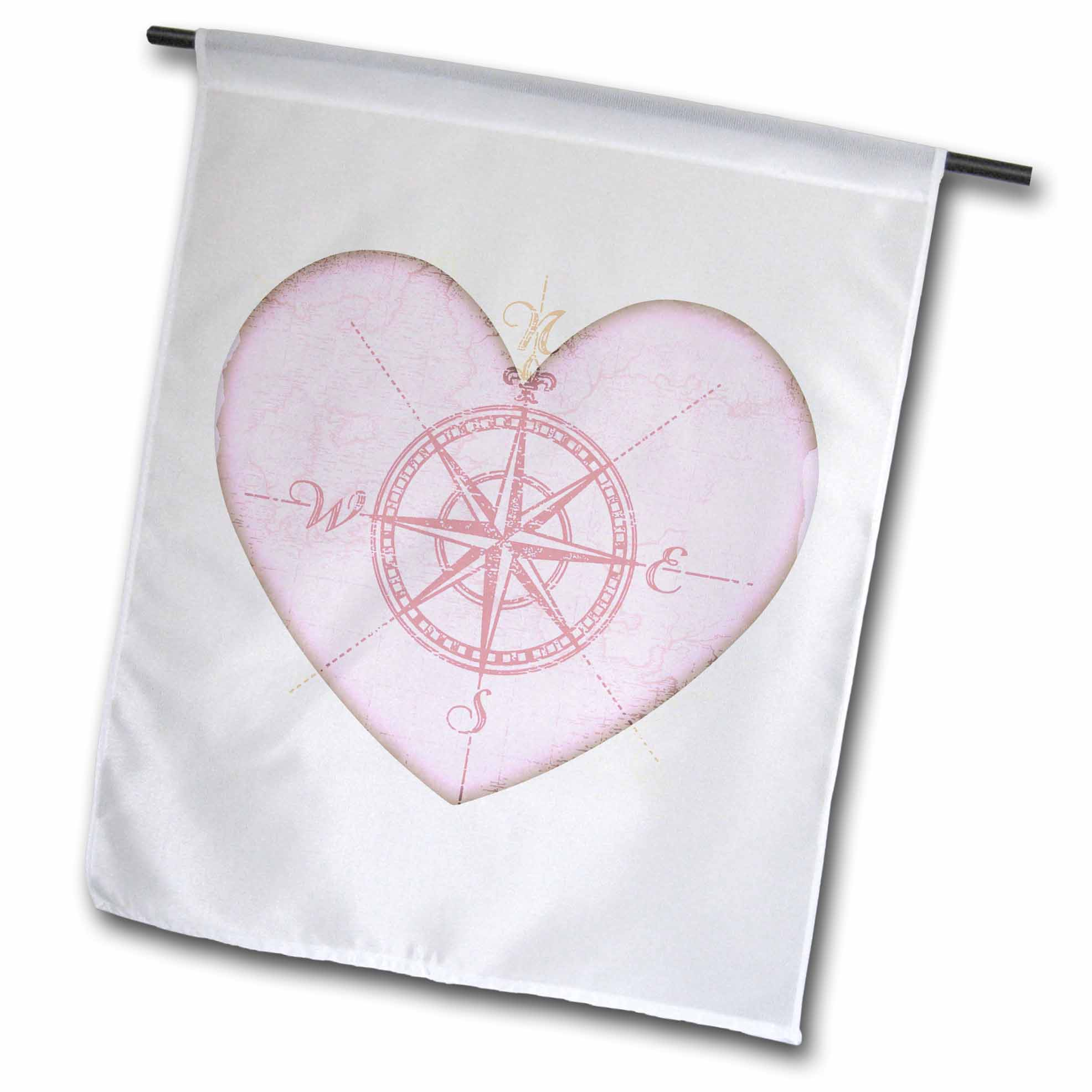 3dRose Heart Compass- Love Art- Romantic- Valentines Day, Garden Flag, 12 by 18-Inch