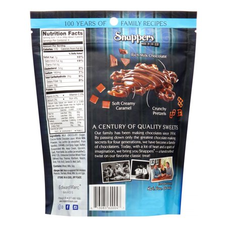 Snappers Gourmet Chocolate   Caramel Treats Pretzel  6 Oz