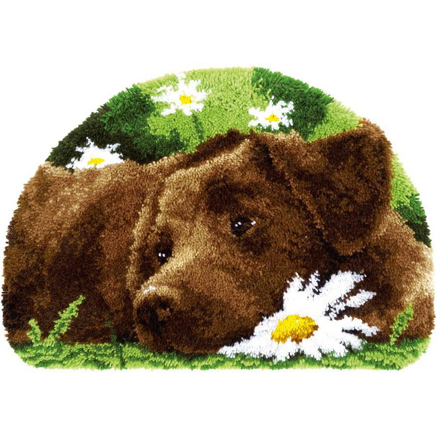 "Vervaco Shaped Rug Latch Hook Kit, 27.5"" x 18.5"", Chocolate Labrador"