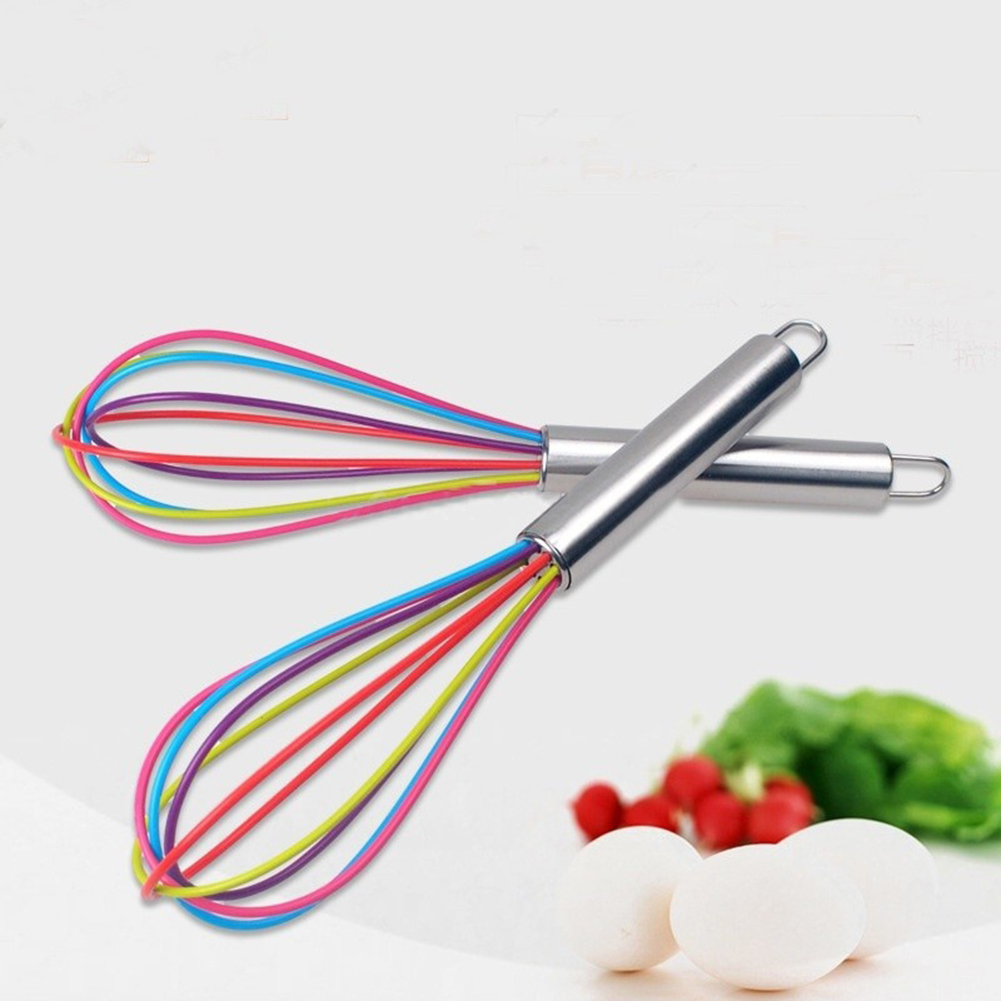 Girl12Queen Stainless Steel Handle Silicone Balloon Wire Egg Beater Whisk Mixer Kitchen Tool