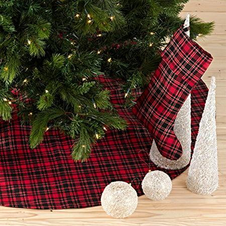Highland Holiday Decor Plaid Design Christmas Tree Skirt, One Piece (Plaid Tree Skirt)