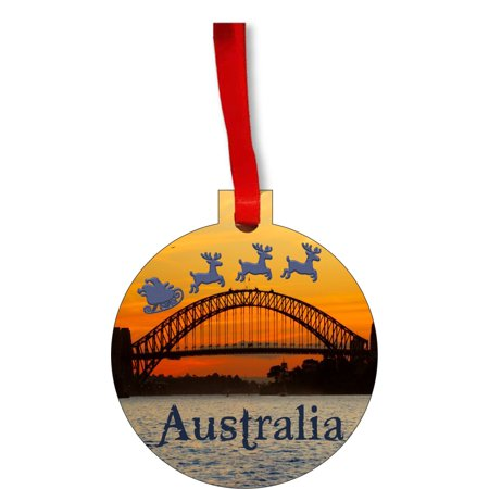 Santa Klaus And Sleigh Riding Over The Sydney Harbor Bridge Australia Round Shaped Flat Hardboard