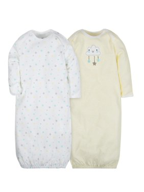 Gerber Baby Boy or Girl Gender Neutral Lap shoulder gown, 2-Pack