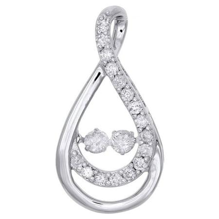 10K White Gold Two Stone Dancing Diamond Infinity Pendant w/ 18