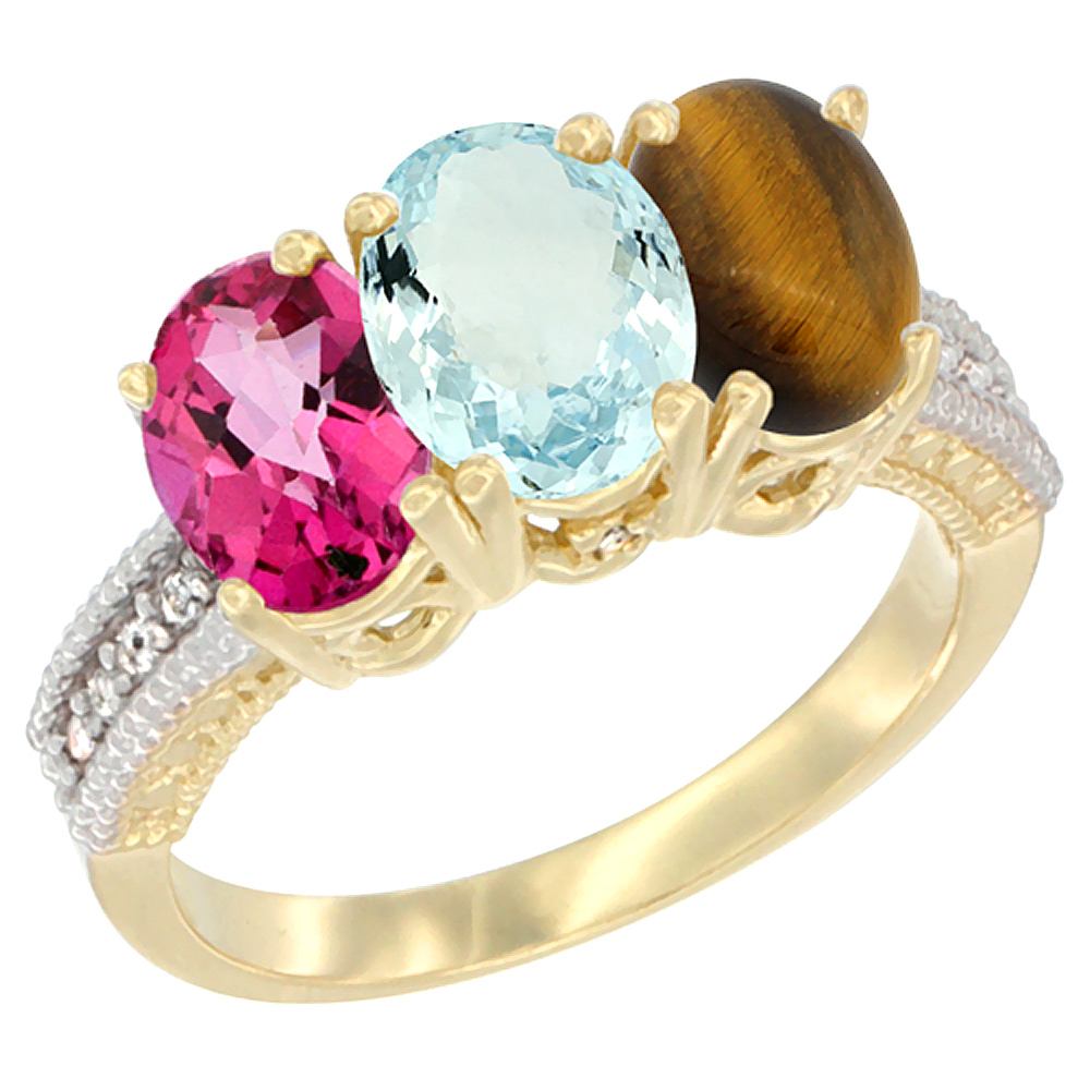 14K Yellow Gold Natural Pink Topaz, Aquamarine & Tiger Eye Ring 3-Stone 7x5 mm Oval Diamond Accent, sizes 5 10 by WorldJewels
