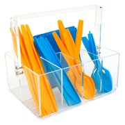 Acrylic Utensil Caddy -Forks Spoons Knives Napkin Parties BBQ