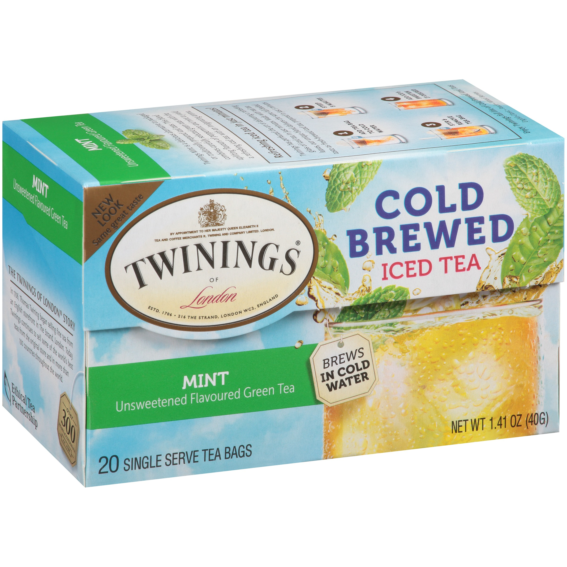 Twinings Of LondonGreen With Mint Cold Brewed Iced 20 Ct Tea Bags 1 41 Oz Box