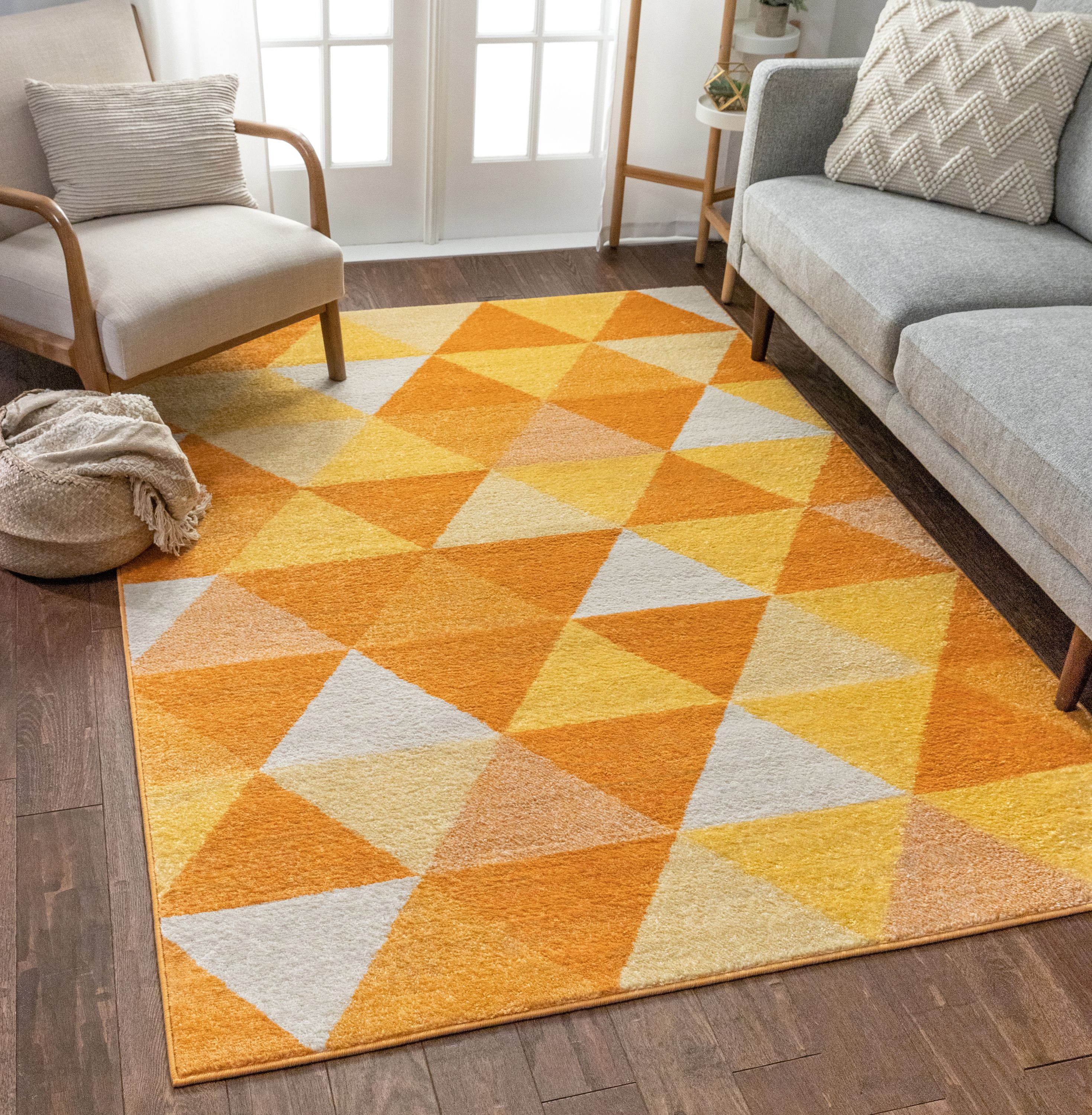 Isometry Orange Yellow Modern Geometric Triangle Pattern 3x5 3 3 X 5 Area Rug Soft Shed Free Easy To Clean Stain Resistant Walmart Com Walmart Com