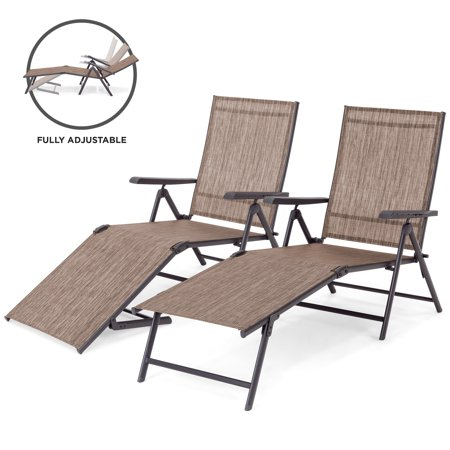 Best Choice Products Set of 2 Outdoor Adjustable Folding Steel Textiline Chaise Reclining Lounge Chairs with 4 Back & 2 Leg Positions, Brown ()