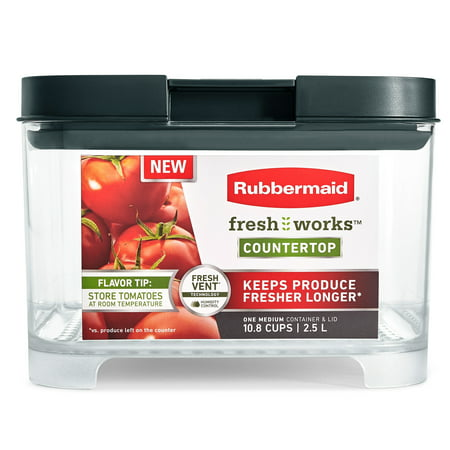 Rubbermaid Freshworks Countertop Food Storage Produce Saver Container, 10.8 Cup, Clear/Grey