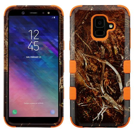 - Samsung Galaxy A6 (2018 Model) Phone Case Tuff Hybrid Shockproof Impact Rubber Dual Layer Hard Soft Protective Hard Case Cover Vine Orange Phone Case for Samsung Galaxy A6
