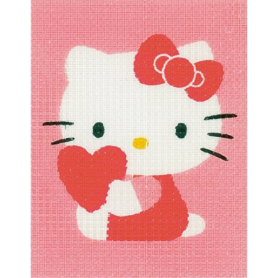 "Hello Kitty With Heart Plastic Canvas Kit, 5"" x 6.5"""