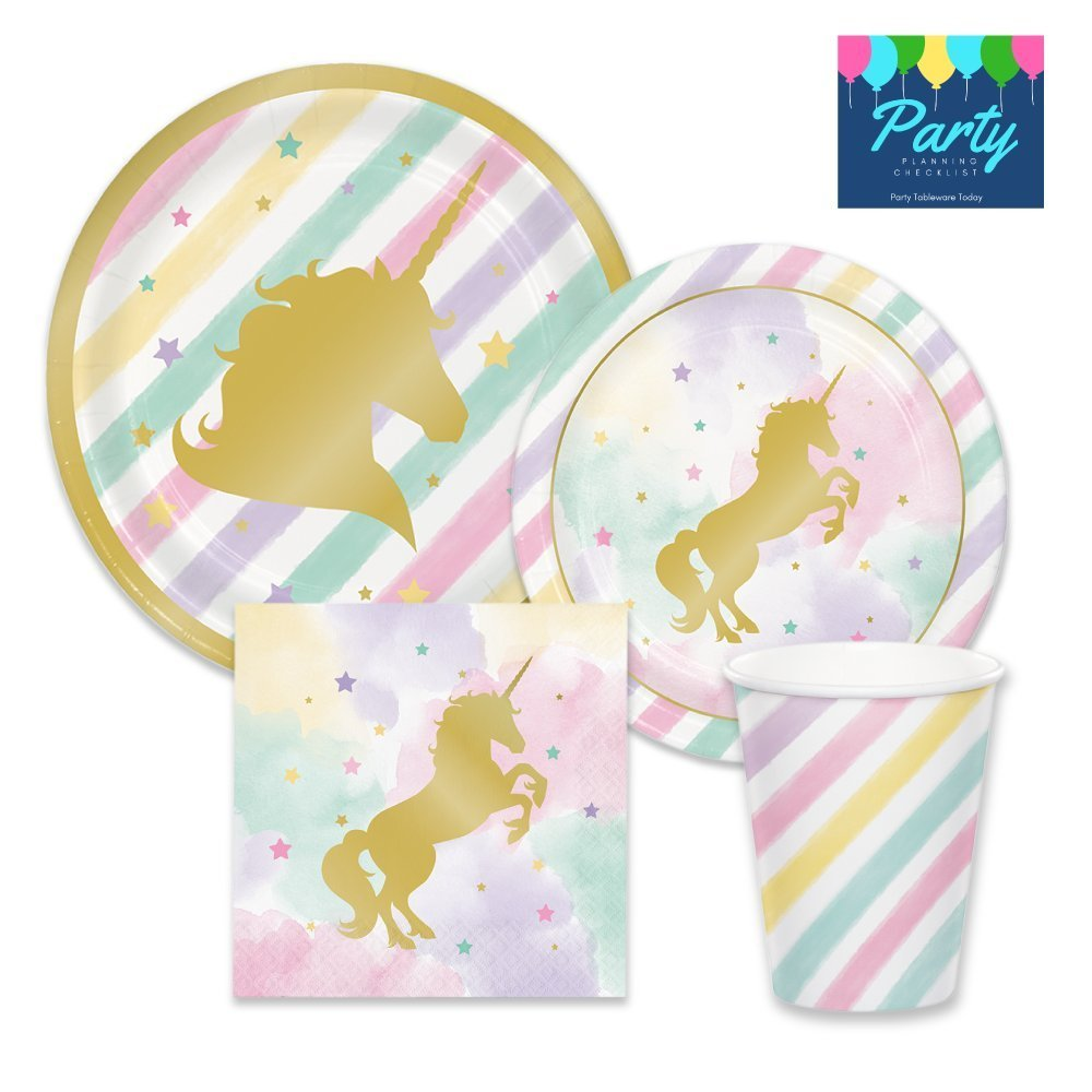 Unicorn Pink & Metallic Gold Sparkle Party Supplies - Tableware for 16 Guests - Plates, Napkins, & Cups
