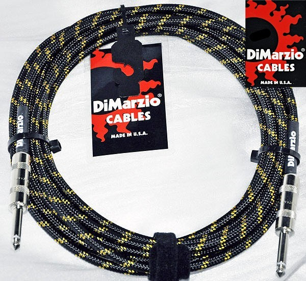 DiMarzio 18' Overbraid Instrument Cable, Black Yellow by