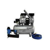California Air Tools 4710SQGK18 Quiet Flow 1.0 Hp, 4.7 Gal. Steel Tank Air Compressor with Nail Gun Kit