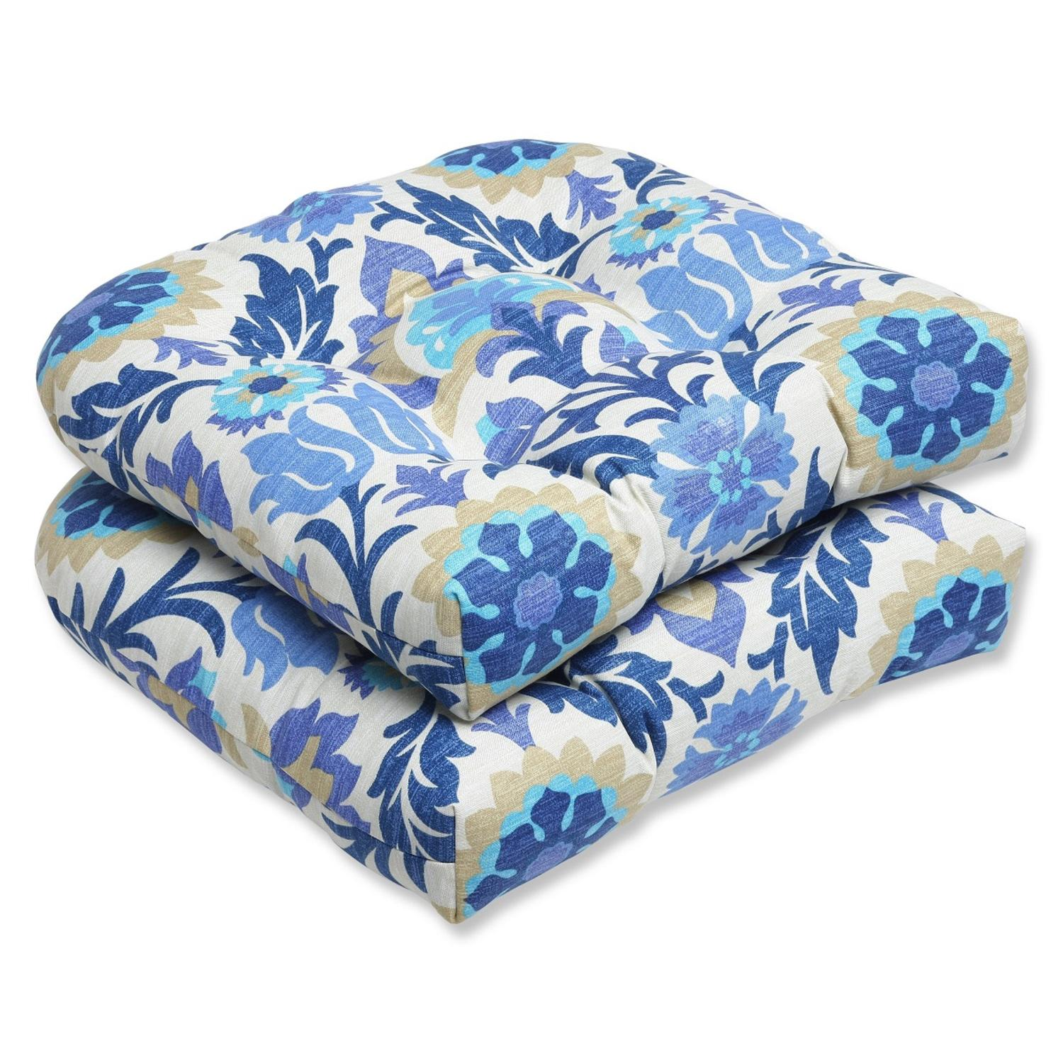Set of 2 Dream Garden Blue, Light Taupe and Ivory Damask Outdoor Patio Wicker Chair Cushions 19""