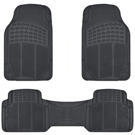 Performance Parts Corvette Floor Mats (BDK All Weather Solid Rubber Trimmable Front and Rear 3-Piece Universal Car Van Truck Floor Mats Set)